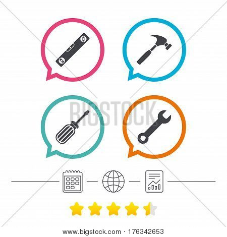 Screwdriver and wrench key tool icons. Bubble level and hammer sign symbols. Calendar, internet globe and report linear icons. Star vote ranking. Vector