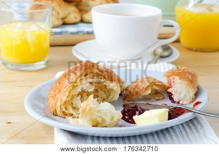 Continental Breakfast Setting On Wooden Table