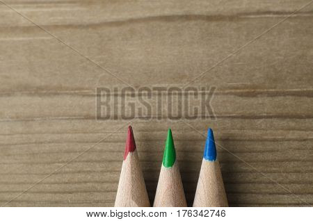 Row Of Pencils In Red, Green And Blue