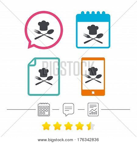 Chef hat sign icon. Cooking symbol. Cooks hat with fork and spoon. Calendar, chat speech bubble and report linear icons. Star vote ranking. Vector