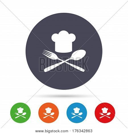 Chef hat sign icon. Cooking symbol. Cooks hat with fork and spoon. Round colourful buttons with flat icons. Vector