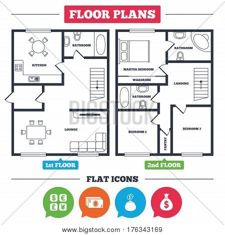 Architecture plan with furniture. House floor plan. Currency exchange icon. Cash money bag and wallet with coins signs. Dollar, euro, pound, yen symbols. Kitchen, lounge and bathroom. Vector