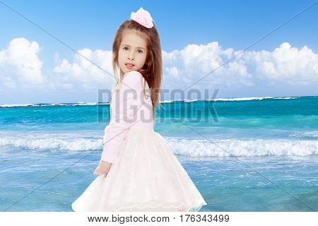 Dressy little girl long blonde hair, beautiful pink dress and a rose in her hair.She turned sideways to the camera and folded his hands in front of him.White sand , blue sea and blue sky with clouds.