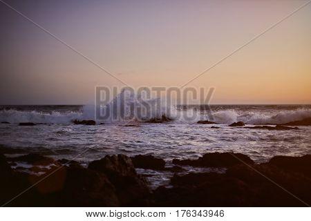 Ocean Wave Splash On Rock