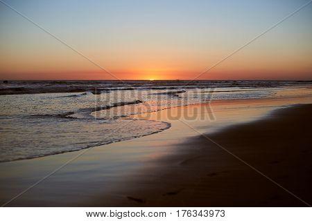 Panorama Landscape On Beach Sunset