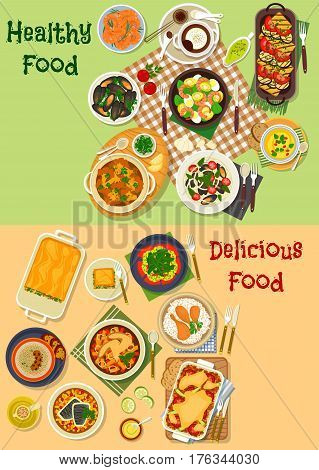 Meat and seafood dishes icon with chicken vegetable stew, shrimp salad, seafood pasta, lasagna, grilled vegetable salad, vegetable cheese soup, grilled shrimp, meat casserole, chocolate mousse