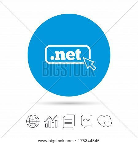 Domain NET sign icon. Top-level internet domain symbol with cursor pointer. Copy files, chat speech bubble and chart web icons. Vector