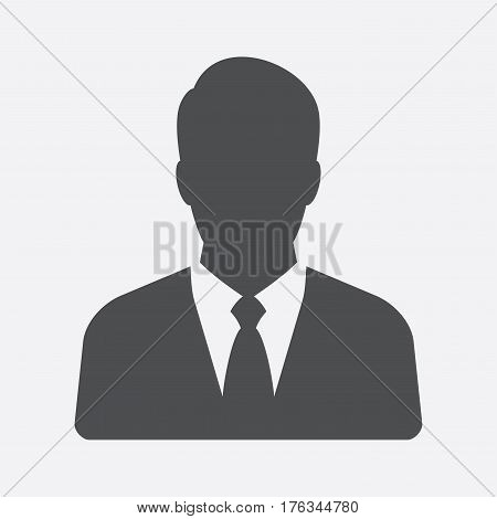 Businessman. Vector icon isolated on grey background.