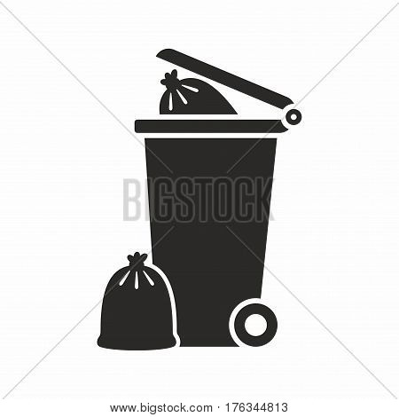 Wheelie bin. Vector icon isolated on white background.