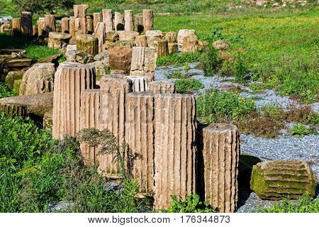 Pillars in the archaeological site of ancient Messene in Peloponnese, Greece