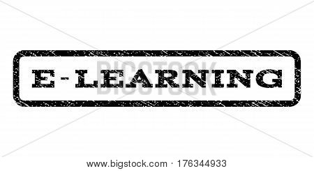 E-Learning watermark stamp. Text caption inside rounded rectangle with grunge design style. Rubber seal stamp with unclean texture. Vector black ink imprint on a white background.