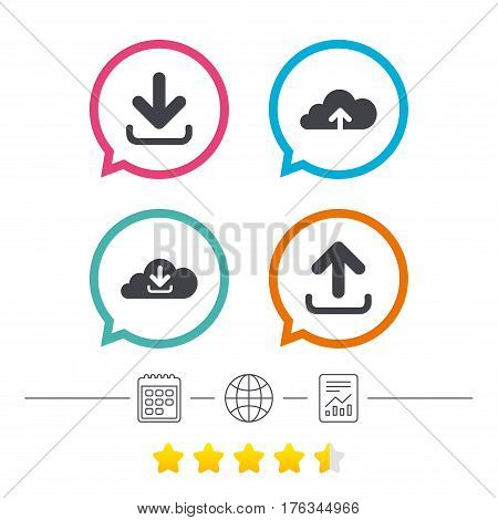 Download now icon. Upload from cloud symbols. Receive data from a remote storage signs. Calendar, internet globe and report linear icons. Star vote ranking. Vector