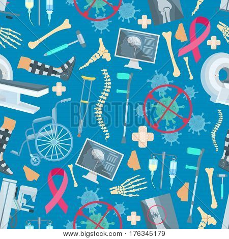 Surgery and traumatology therapy seamless pattern of vector medical items and medicines MRI angiogram, spine bone, foot and hand bone trauma, brain x-ray, crutch and wheelchair, virus or bacterium