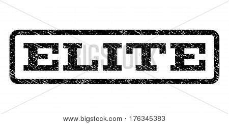 Elite watermark stamp. Text tag inside rounded rectangle frame with grunge design style. Rubber seal stamp with dirty texture. Vector black ink imprint on a white background.