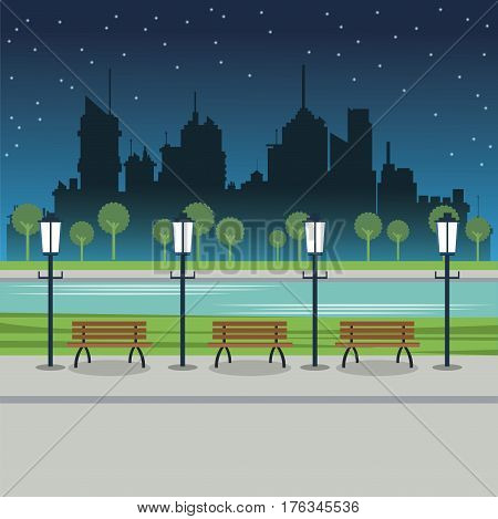 street city night post lamp bench river vector illustration