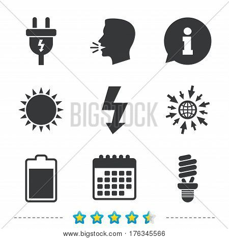 Electric plug icon. Fluorescent lamp and battery symbols. Low electricity and idea signs. Information, go to web and calendar icons. Sun and loud speak symbol. Vector