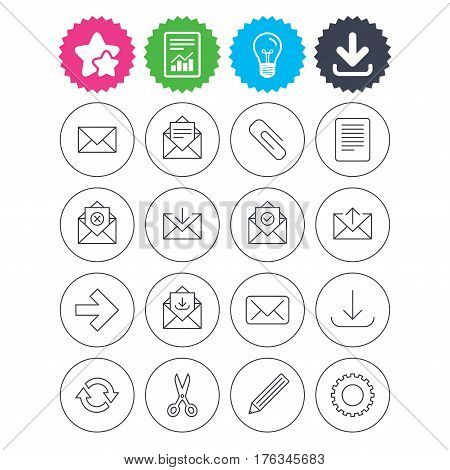 Download, light bulb and report signs. Mail services icons. Send mail, paper clip and download arrow symbols. Scissors, pencil and refresh thin outline signs. Receive, select and delete mail. Vector