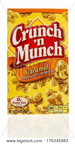 Winneconne WI - 21 February 2017: Box of Crunch N Munch in caramel flavor on an isolated background.
