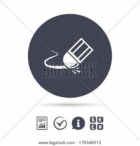Eraser icon. Erase pencil line symbol. Correct or Edit drawing sign. Report document, information and check tick icons. Currency exchange. Vector