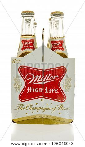Winneconne WI - 23 February 2017: Six pack of Miller High Life beer on an isolated background.