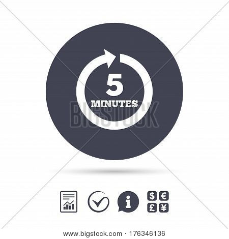 Every 5 minutes sign icon. Full rotation arrow symbol. Report document, information and check tick icons. Currency exchange. Vector