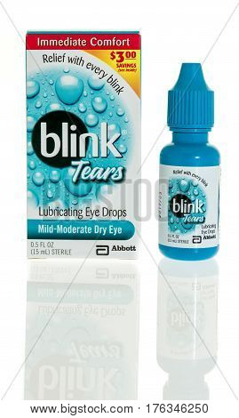 Winneconne WI - 5 March 2017: Blink tears eye drops on an isolated background.