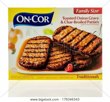 Winneconne WI - 5 March 2017: Box of On Cor toasted onion gravy & char-broiled patties on an isolated background.