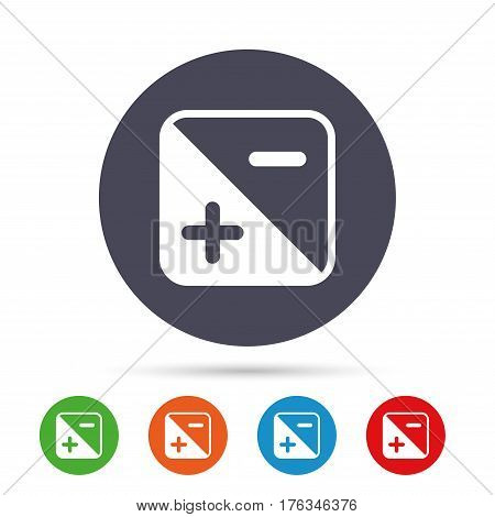 Exposure photo camera sign icon. Quantity of light settings. Round colourful buttons with flat icons. Vector
