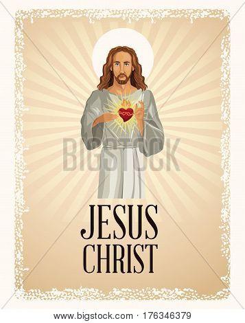 jesus christ sacred heart vintage vector illustration eps 10