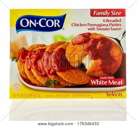 Winneconne WI - 5 March 2017: Box of On Cor chicken parmagiana patties with tomato sauce on an isolated background.