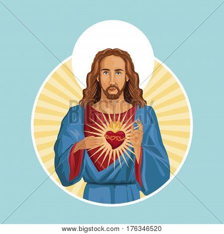 jesus christ sacred heart label vector illustration eps 10