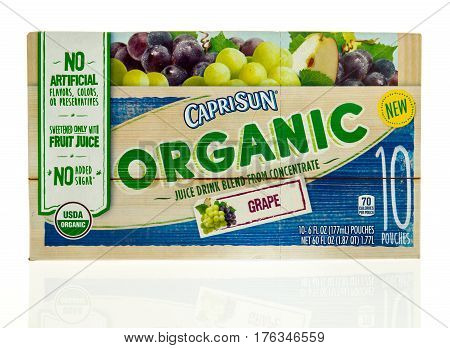 Winneconne WI - 5 March 2017: Box of Caprisun organic juice drink on an isolated background.