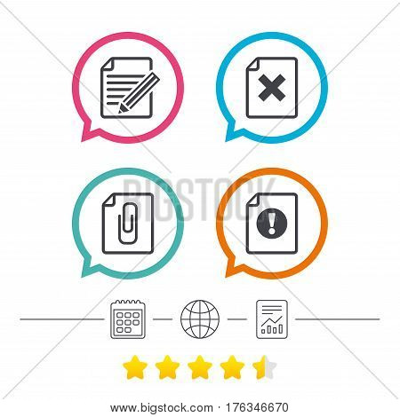 File attention icons. Document delete and pencil edit symbols. Paper clip attach sign. Calendar, internet globe and report linear icons. Star vote ranking. Vector