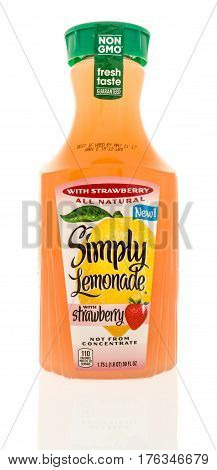 Winneconne WI - 9 March 2017: A bottle of Simply Lemonade with strawberry on an isolated background.