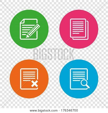 File document icons. Search or find symbol. Edit content with pencil sign. Remove or delete file. Round buttons on transparent background. Vector