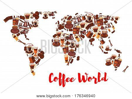 Coffee world map silhouette made up of coffee cups of espresso, cappuccino and latte, coffee beans, pot and grinder, chocolate bar, cinnamon and wafer rolls. Cafe menu, drink and food packaging design