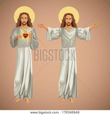 two image jesus christ christianity vector illustration eps 10