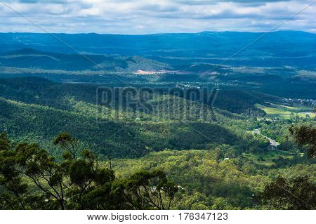 The panoramic countryside landscape view on mountainse in Toowoomba, Australia
