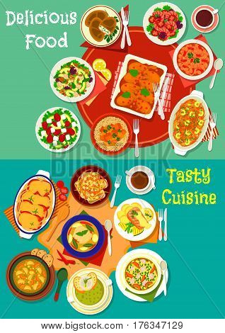 Healthy food dishes for dinner icon set with baked fish and chicken, vegetable and meat soups with noodle and lentil, chicken and vegetable salads with cheese and shrimp, curry, stuffed zucchini