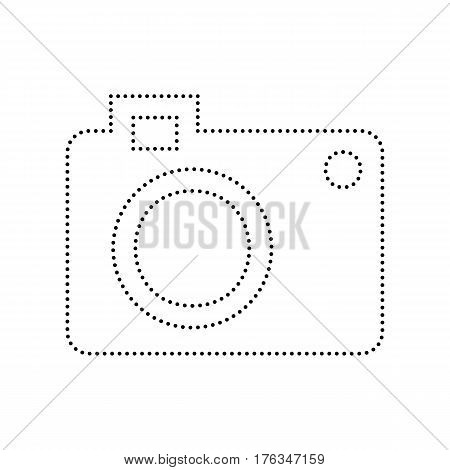 Digital camera sign. Vector. Black dotted icon on white background. Isolated.