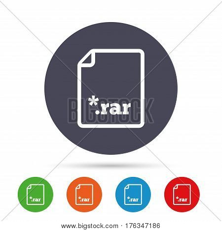 Archive file icon. Download compressed file button. RAR zipped file extension symbol. Round colourful buttons with flat icons. Vector