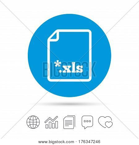 Excel file document icon. Download xls button. XLS file extension symbol. Copy files, chat speech bubble and chart web icons. Vector