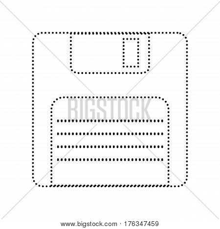Floppy disk sign. Vector. Black dotted icon on white background. Isolated.