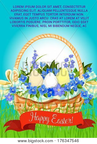 Easter poster of paschal eggs in wicker basket. Vector ribbon with Happy Easter greeting for religion holiday card template. Spring bouquet of crocuses, daffodils and lily tulips on grass meadow
