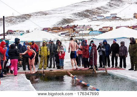 Sahyurta ,irkutsk Region, Russia - March 11.2017: Cup Of Baikal. Winter Swimming