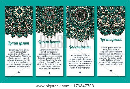 Mandala or Paisley banners of pattern and Indian flower or flourish Buddhistic ornament decoration. Vector templates set for business or greeting card