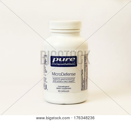 New York December 02: A bottle of urinaty tract medication isolated on white.