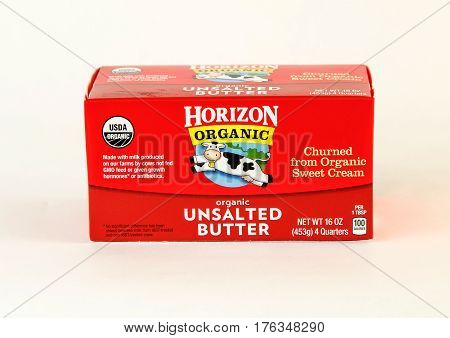 New York, December 17, 2016: A pack of Horizon unsalted butter is seen on white background.