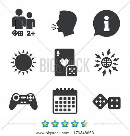 Gamer icons. Board games players signs. Video game joystick symbol. Casino playing card. Information, go to web and calendar icons. Sun and loud speak symbol. Vector