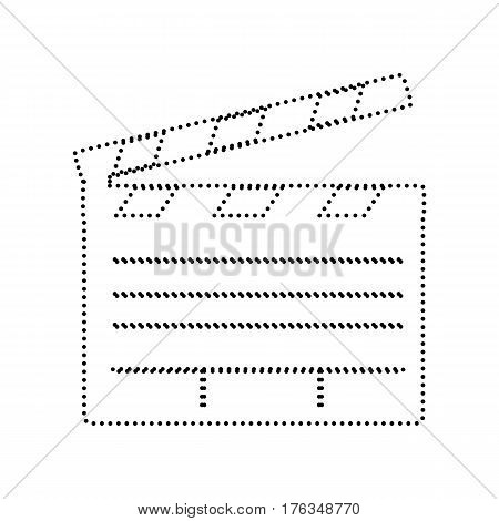 Film clap board cinema sign. Vector. Black dotted icon on white background. Isolated.